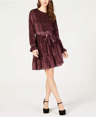 Michael Kors Burnout Velvet Flounce Dress, in Regular and Petite Sizes