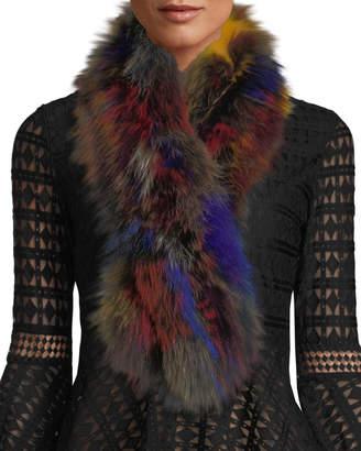 Adrienne Landau Multicolor Fox Fur Pull-Through Scarf