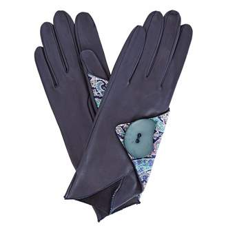 Gizelle Renee - Padma Navy Leather Gloves With BC Liberty Tana Lawn