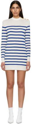 Balmain Blue and White Striped Buttoned Knit Mini Dress