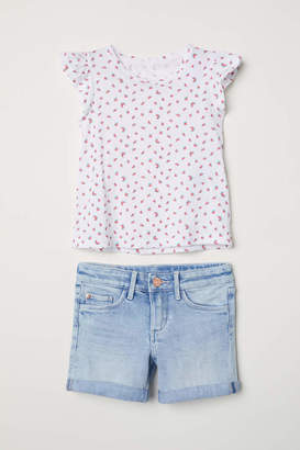H&M Top and Denim Shorts - White/watermelons - Kids