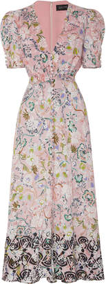 Saloni Lea Floral-Print Silk Crepe De Chine Midi Dress