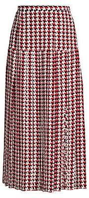 Rixo Women's Tina Houndstooth Silk Midi Skirt
