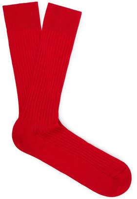 Pantherella Danvers Ribbed Cotton-Blend Socks