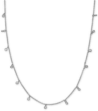 """Giani Bernini Cubic Zirconia Dangle Chain Necklace in Sterling Silver, 16"""" + 2"""" extender"""