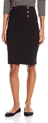Amy Byer A. Byer Junior's Suiting Pencil Skirt with Pockets and Buttons