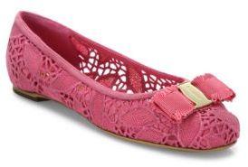 Salvatore Ferragamo Varina Laced Leather Ballet Flats