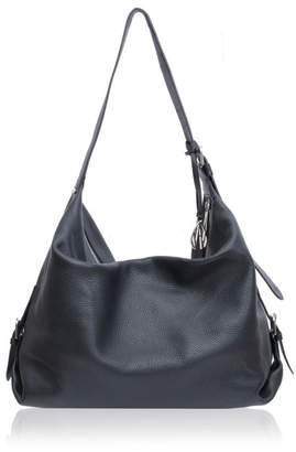 Amanda Wakeley Midi Costner Black Leather Hobo Bag