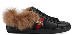 Gucci Women's New Ace Fur-Lined Sneakers - Black
