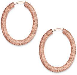 Carolina Bucci 18k Pink Gold Florentine Small Oval Hoop Earrings