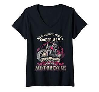 Womens Soccer Biker Chick Mom Gift Never Underestimate Motorcycle V-Neck T-Shirt