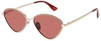 Le Specs Luxe Bazaar Laser-Cut Geometric Sunglasses, Rose/Gold