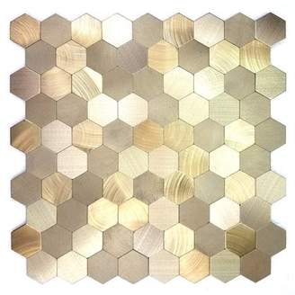 Abolos SAMPLE - Enchanting Hexagon Wall Backsplash Peel and Stick Metal Mosaic Tile in Gold