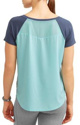 Athletic Works Women's Active Short Sleeve Vneck Woven Back Performance T-Shirt
