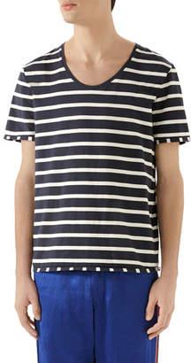 Gucci Men's Striped Scoop-Neck T-Shirt