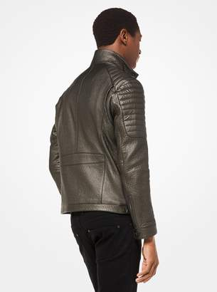 Michael Kors Metallic Pebbled Leather Moto Jacket