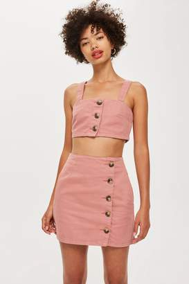 Topshop Horn Button Denim Bralet