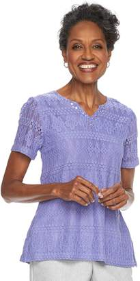Alfred Dunner Women's Studio Embelllished Lace Top