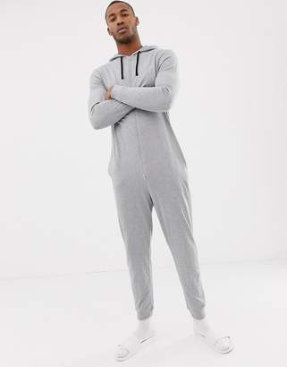 Asos Design DESIGN hooded onesie in gray marl in organic cotton abfc2bf3e