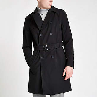 River Island Black double breasted belted trench coat
