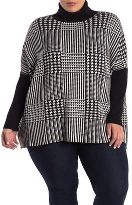 Joseph A Easy Patterned Turtleneck Poncho Sweater (Plus Size)