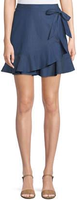 BCBGeneration Flirty Chambray Mini Wrap Skirt