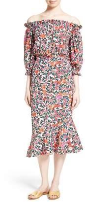 Saloni Grace Print Silk Off the Shoulder Dress
