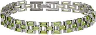 """Baguette Gemstone Panther Link Sterling 7-1/4"""" Bracelet"""