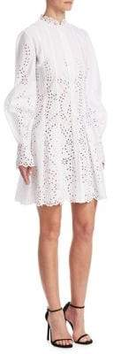 Oscar de la Renta Eyelet Balloon-Sleeve Dress