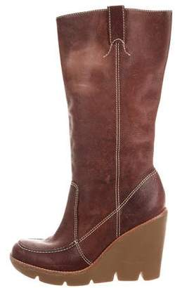 KORS Leather Wedge Boots