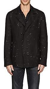 John Varvatos Men's Paint-Splattered Linen Double-Breasted Jacket - Black