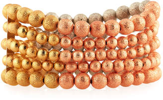 Lydell NYC Tri-Tone Multi-Row Beaded Stretch Bracelet
