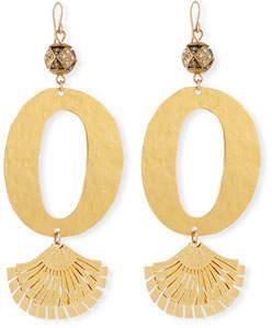 Devon Leigh Hammered Oval Fan Earrings