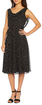 MSK Sleeveless Polka Dot Fit & Flare Dress