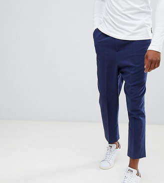 Asos Design TALL Drop Crotch Tapered Smart Pants In Navy Textured Linen Blend