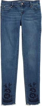Tractr Embroidered Fray Hem Jeans