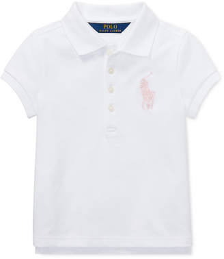 Polo Ralph Lauren Toddler Girls Big Pony Stretch Mesh Polo Shirt