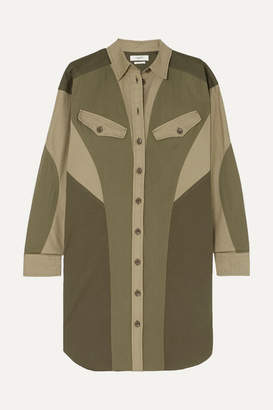 Etoile Isabel Marant Goya Color-block Cotton-twill Mini Dress - Army green