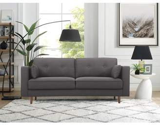 Mid-Century MODERN Lifestyle Solutions Tanany Design Upholstery Fabric Sofa, Heather Grey