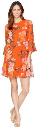 Donna Morgan Printed Chffon Fit and Flare Dress with Bell Sleeve Women's Dress