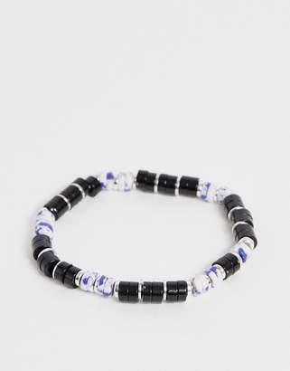 Asos Design DESIGN semi precious beaded bracelet in blue