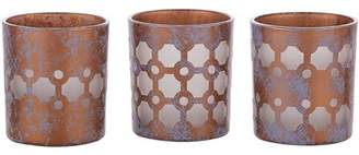 Candle Decor Pavilion - Bronze And Purple Sponge Patterned Frosted Glass Set of 3 Patterned Tealight Candle Holders
