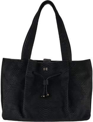 Halston H By H by Croco Embossed Suede Satchel Handbag