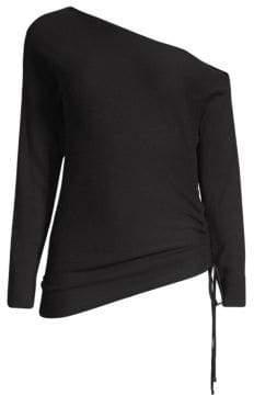 Ramy Brook Samantha One-Shoulder Silk& Merino Wool Sweater