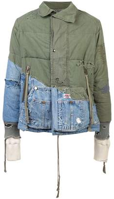 Greg Lauren distressed hooded jacket