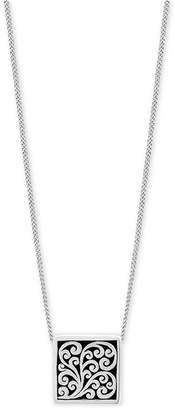 """Lois Hill Decorative Scroll Square 20"""" Pendant Necklace in Sterling Silver"""