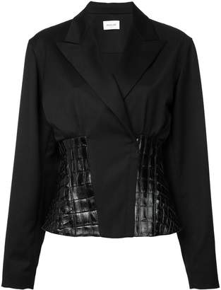 Thierry Mugler leather insert blazer