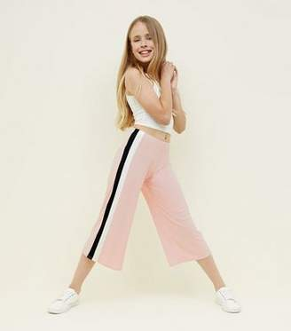 New Look Girls Pale Pink Side Stripe Ribbed Culottes