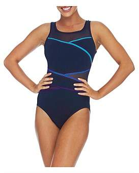 Jantzen Mesh Taped High Neck Pool Proof One Piece