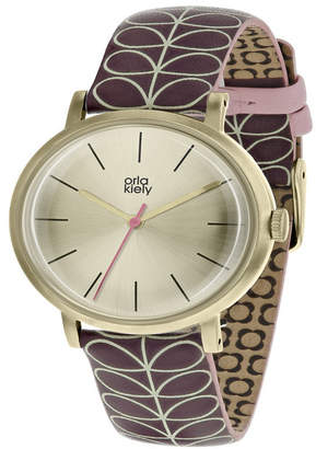 Lola Rose Orla Kiely Watch, Burgundy Leather Strap With Buckle Closure